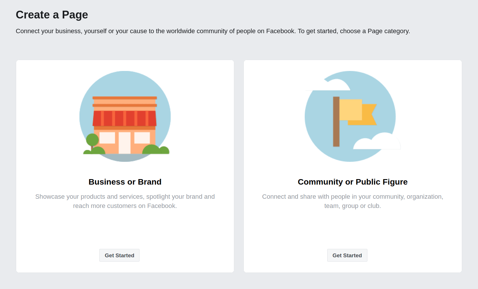 Decide on Facebook Page Type